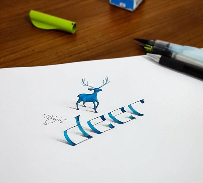 3 deer 3d calligraphy drawings