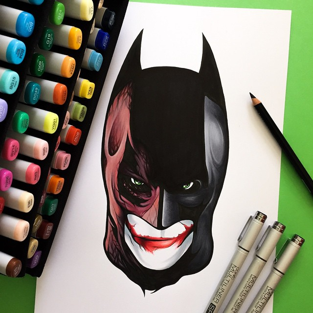 joker bat man color marker drawings by stephen ward