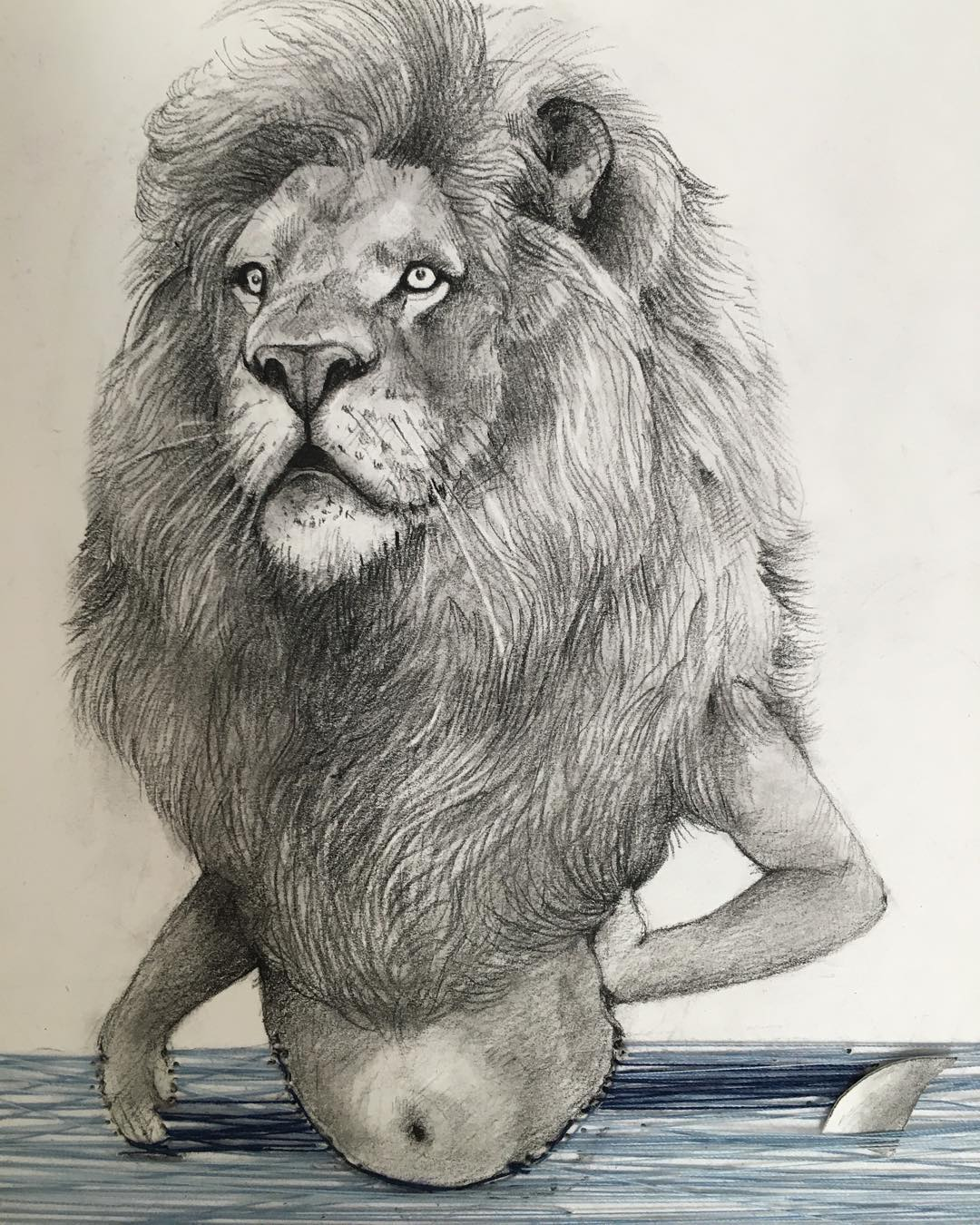 lion man pencil drawing by adonna khare