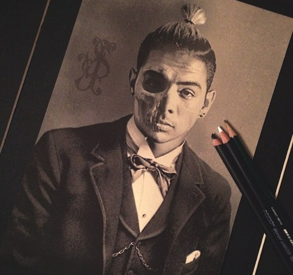 man pencil drawing by stacy jean