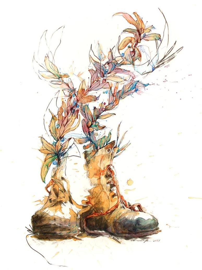 old boots new laces creative drawings by carne griffiths