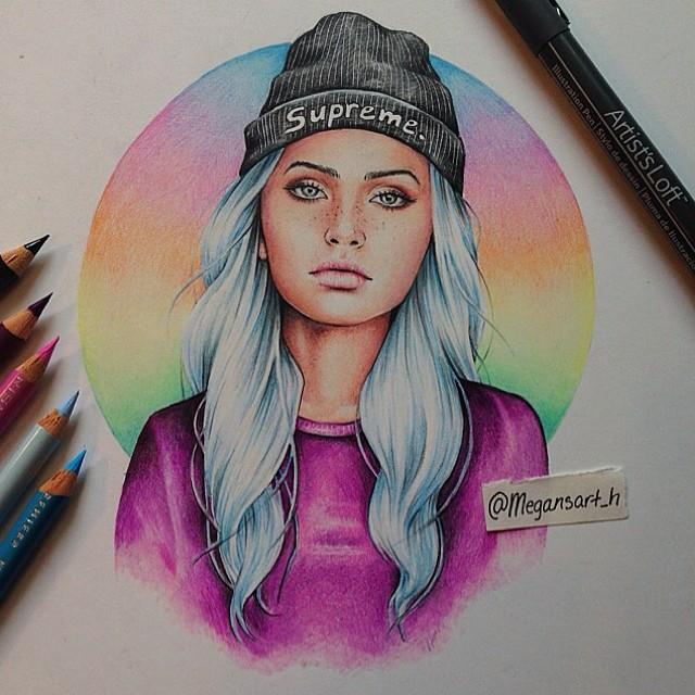 woman color pencil drawing by megan renee