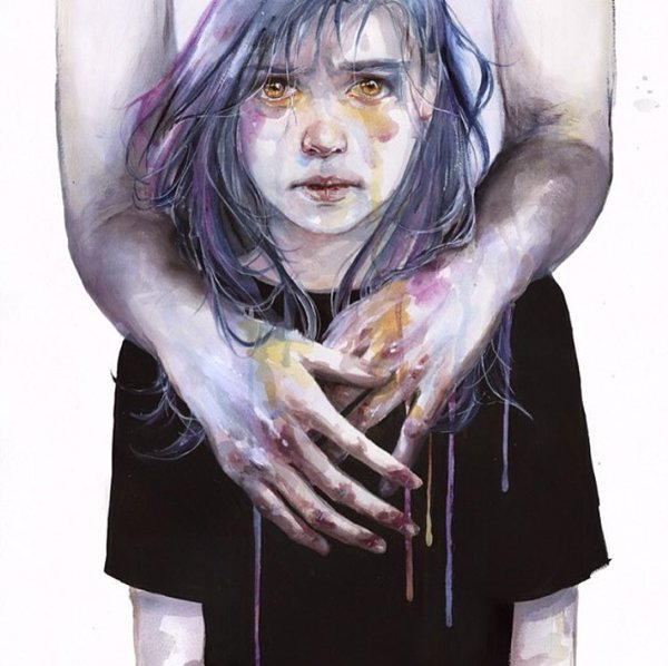 3 woman watercolor paintings by agnes cecile
