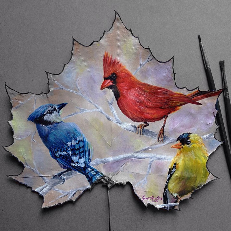birds creative painting leaf by janette rose