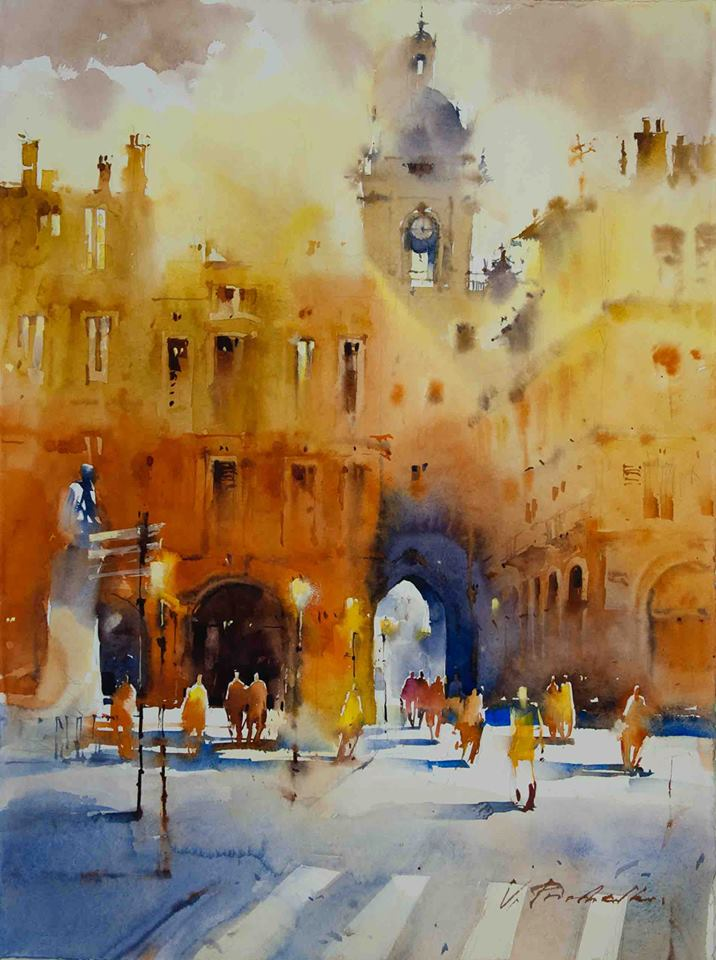 castel watercolor paintings by victoria prischedko