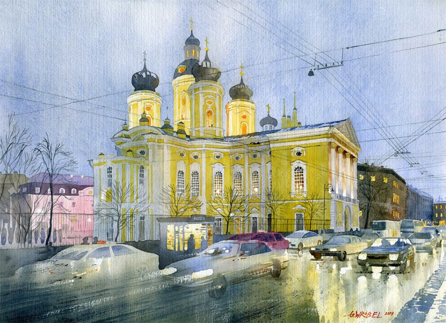 4 church watercolor paintings by wrobel