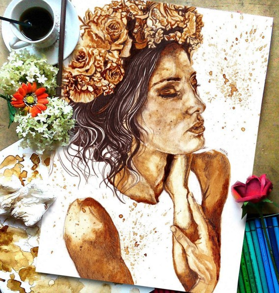 4 coffee art painting by nuriamarq