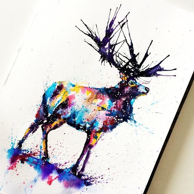 deer colorful watercolor paintings by liviing