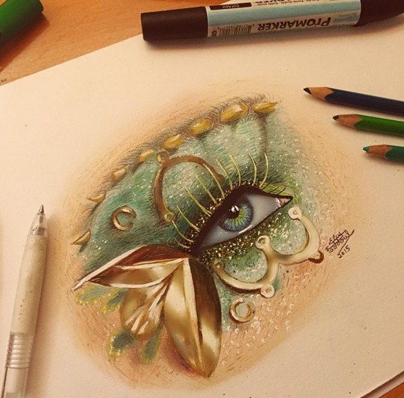 4 eye color pencil drawings by elcy faddoul