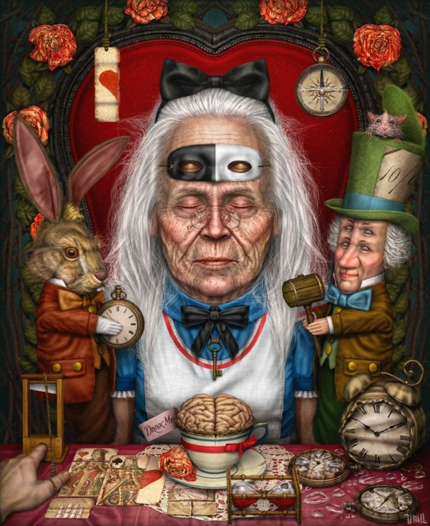 grandma surreal painting by tenia