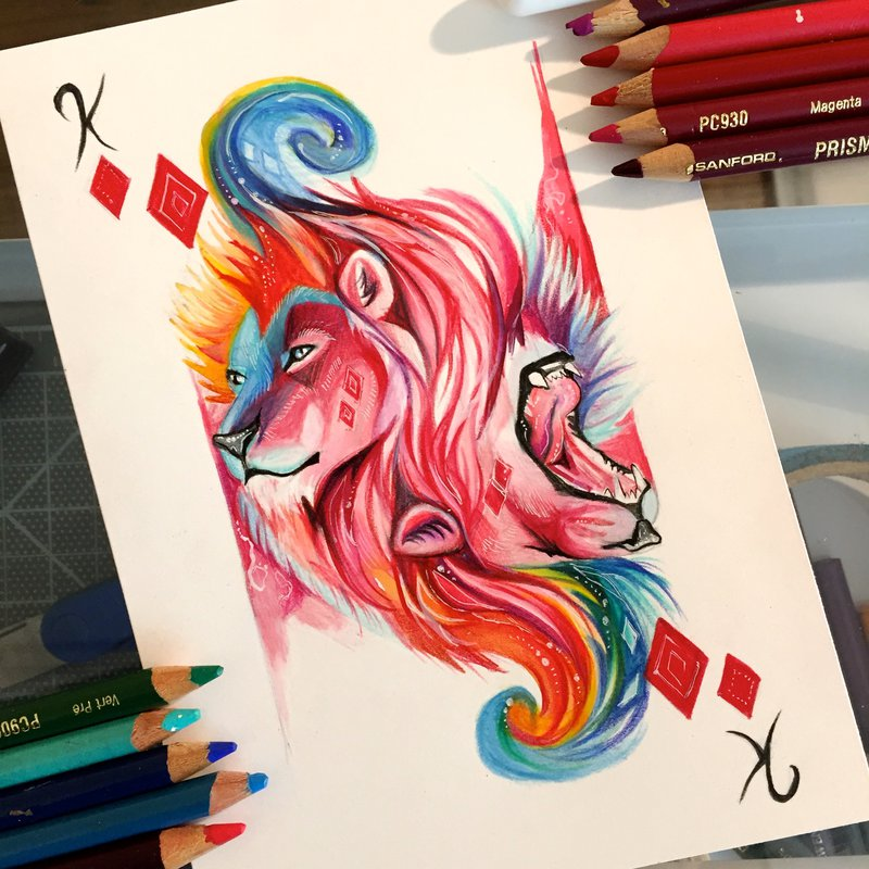 lion animal drawings by katy lipscomb