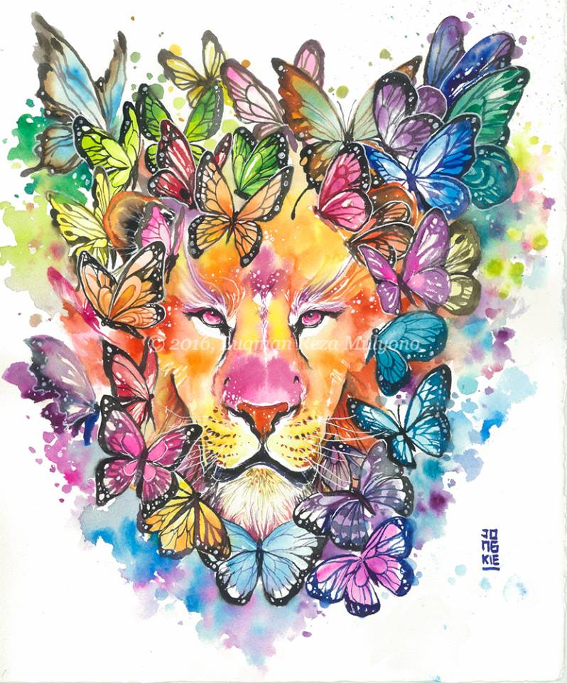4 lion animal watercolor paintings by luqman reza