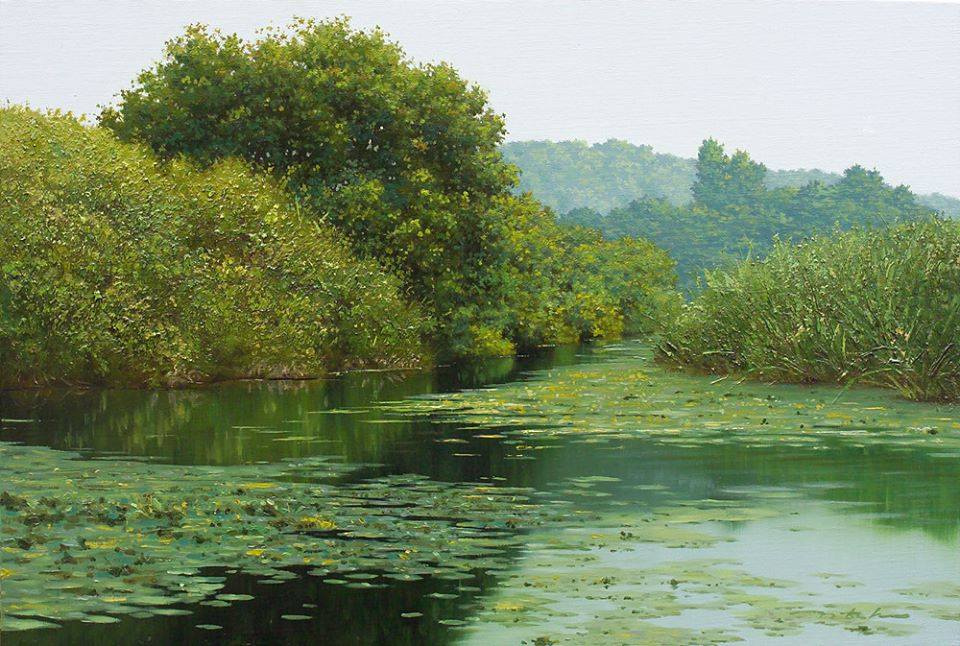 nature lake realistic scenery painting by jung hwan