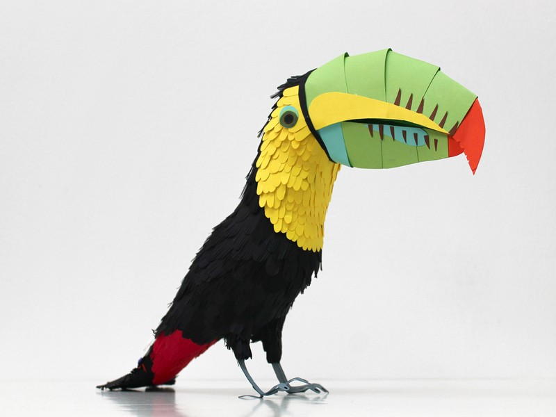 parrot bird paper sculptures by diana_0