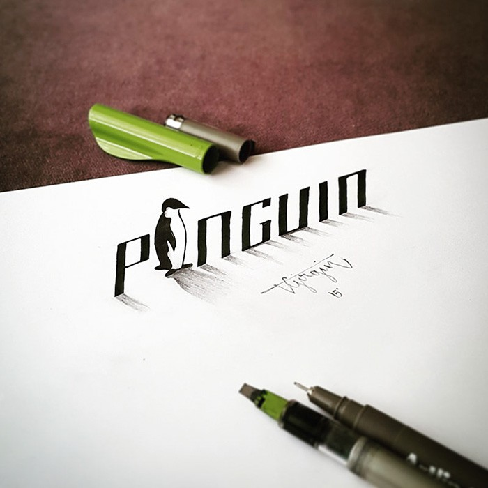4 penguin 3d calligraphy drawings by tolga