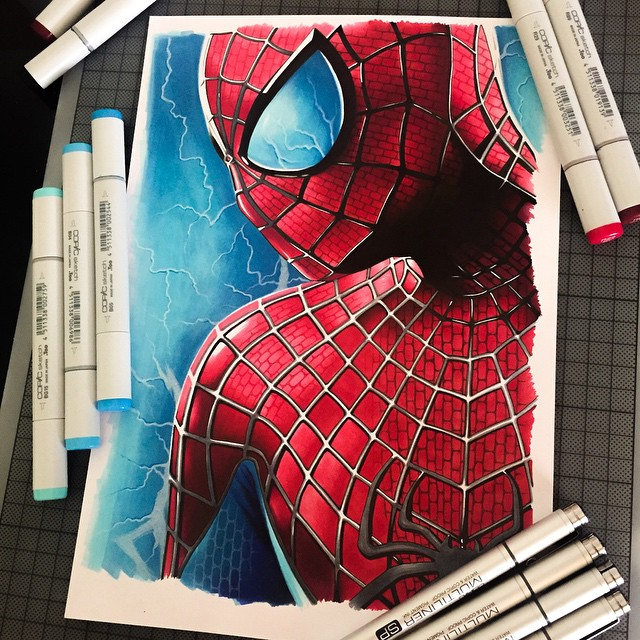 spider man color marker drawings by stephen ward