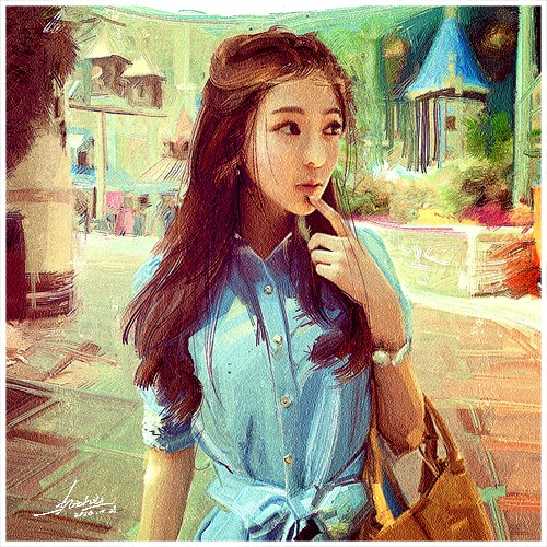 sweet girl chinese painting by ling shu