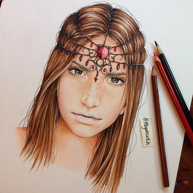 woman color pencil drawing by megan renee