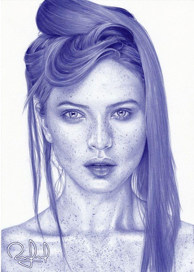 woman pen drawings by rafael augusto