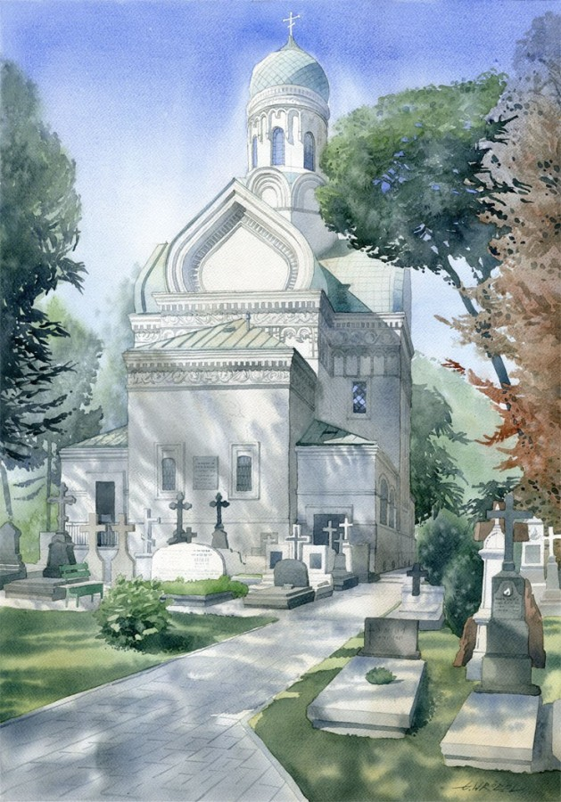 5 church watercolor paintings by wrobel
