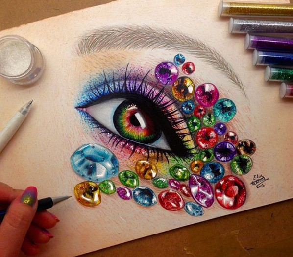 5 eye color pencil drawings by elcy faddoul