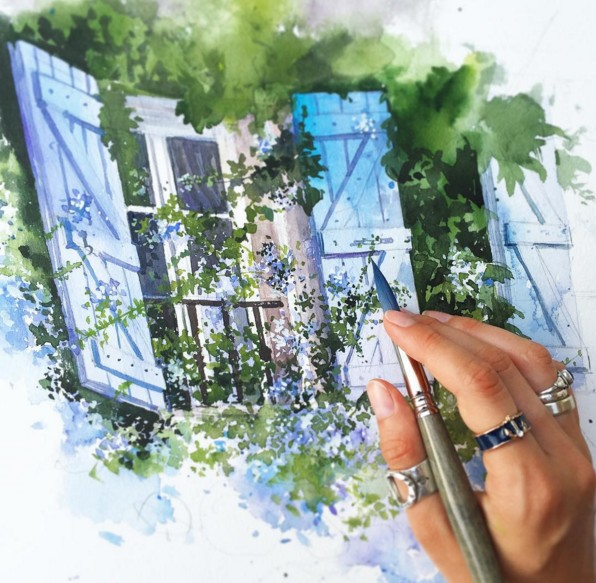 house watercolor paintings by julia barminova