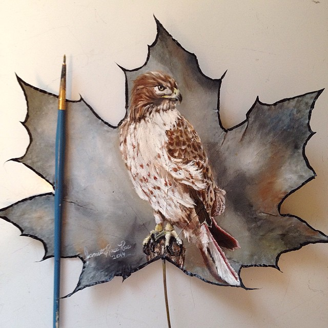 owl creative painting leaf by janette rose