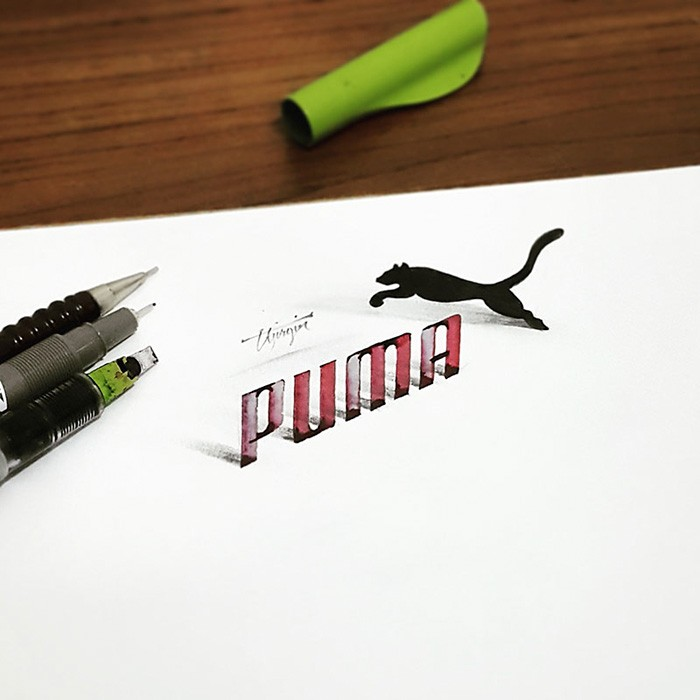 5 puma 3d calligraphy drawings by tolga