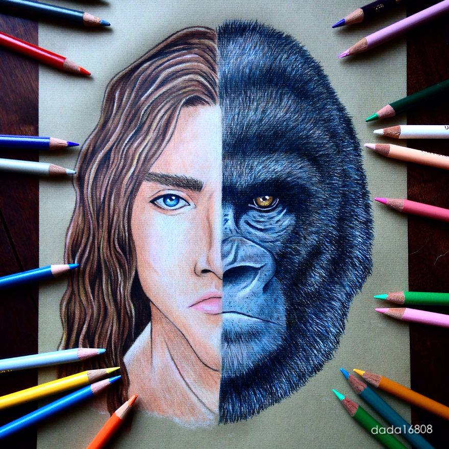 5 tarzan kerchak color pencil drawings by dada