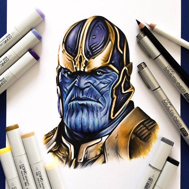 thanos color marker drawings by stephen ward