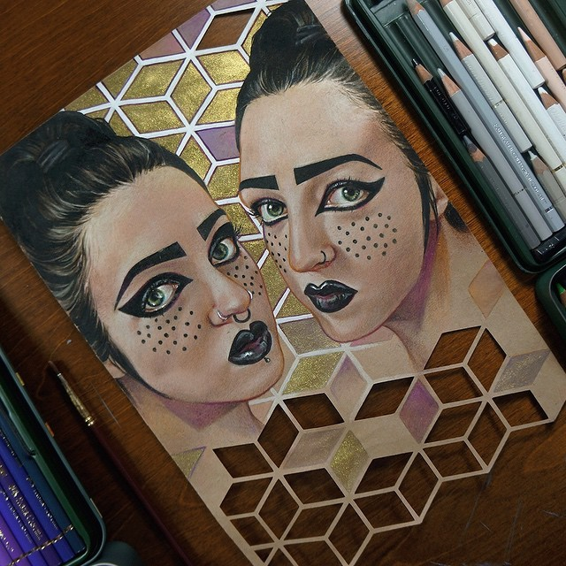 twin color pencil drawing by maria