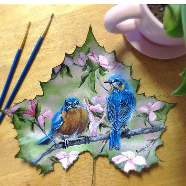 6 birds creative painting leaf by janette rose