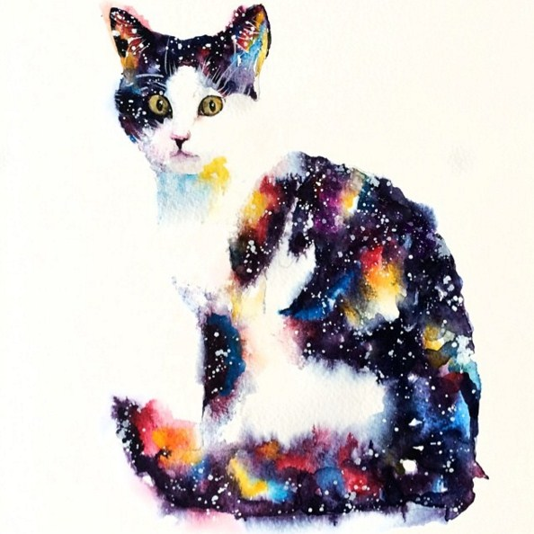 cat colorful watercolor paintings by liviing