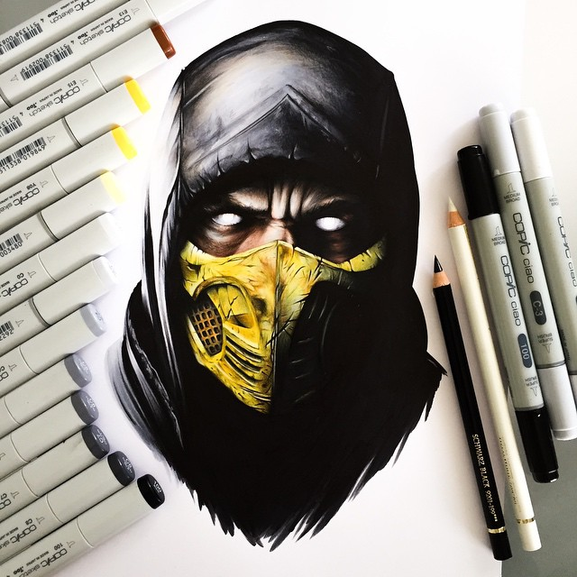 mortal combat color marker drawings by stephen ward