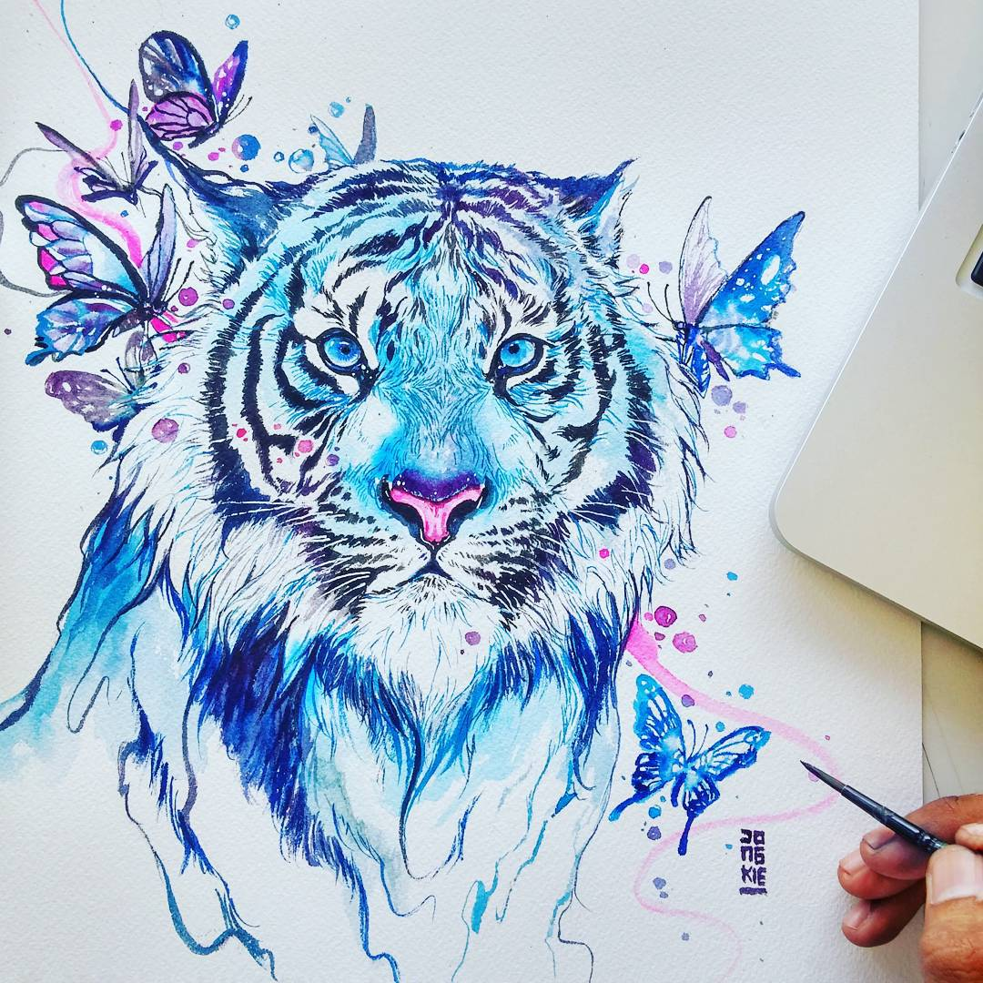 tiger animal watercolor paintings by luqman reza