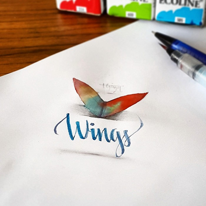 6 wings 3d calligraphy drawings by tolga