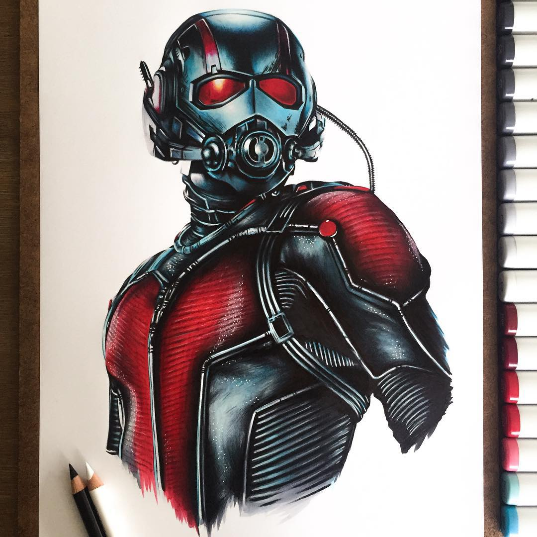 ant man color marker drawings by stephen ward