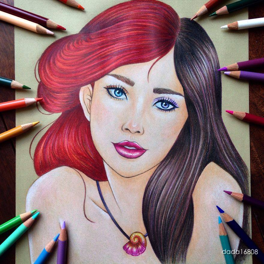 ariel vanessa color pencil drawings by dada