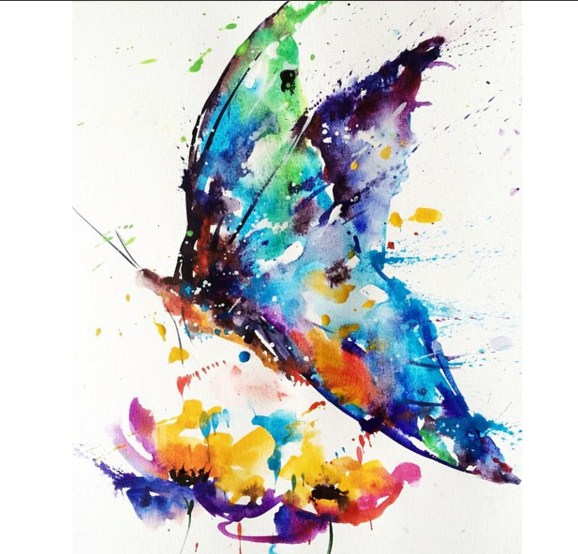 butterfly colorful watercolor paintings by liviing