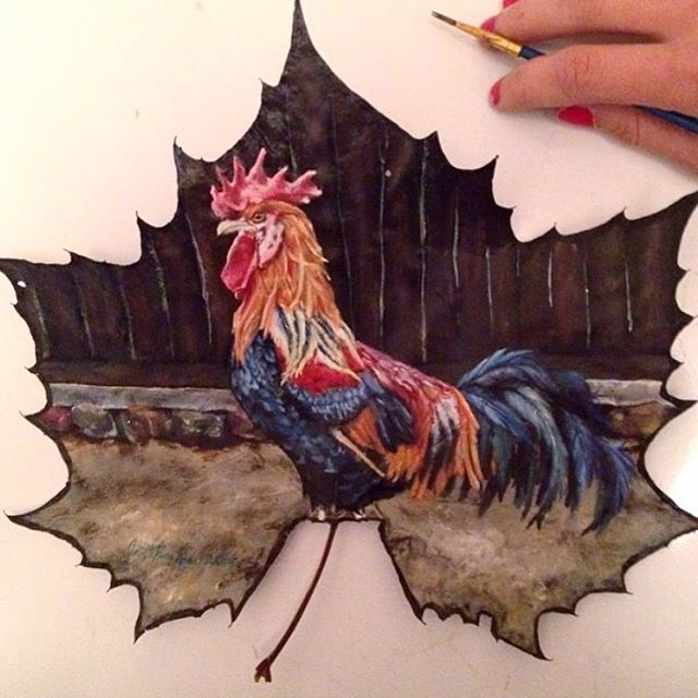 cock creative painting leaf by janette rose