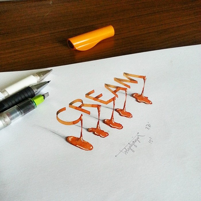 7 cream 3d calligraphy drawings by tolga