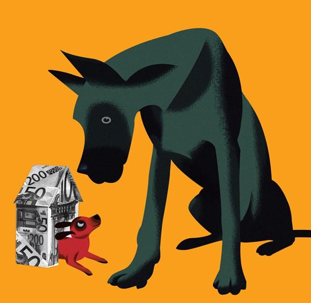 dog funny digital illustration by nigel buchanan