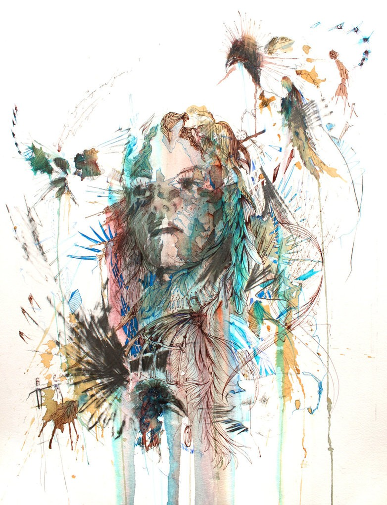 girl creative drawings by carne griffiths