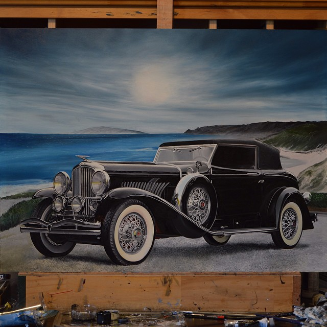 hyper realistic painting vintage car peter perlegas