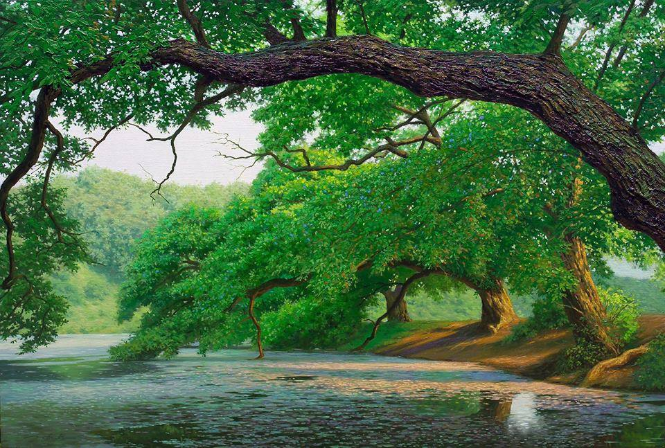 nature pond realistic scenery painting by jung hwan