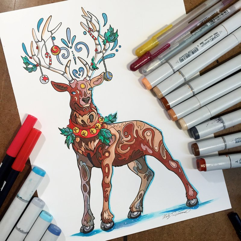 reindeer animal drawings by katy lipscomb