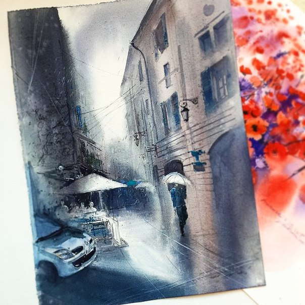 street watercolor paintings by julia barminova
