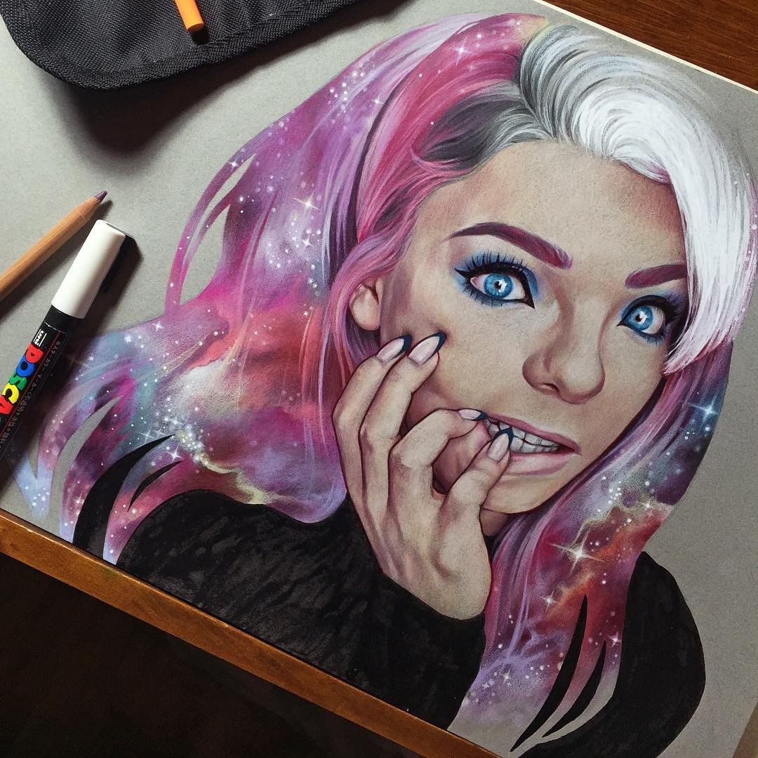 woman color pencil drawing by maria