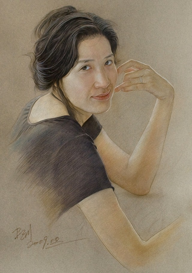 woman color pencil drawing by william wu