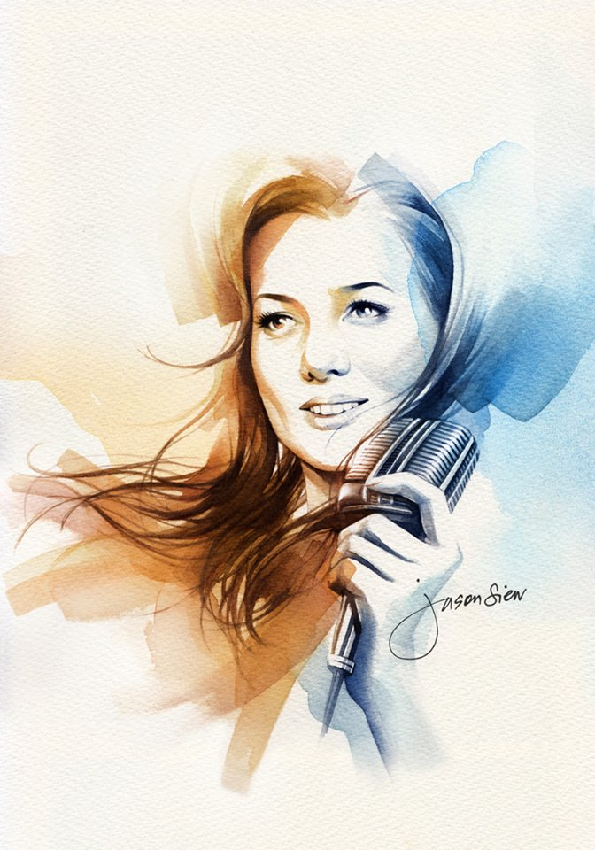 7 woman watercolor paintings by jason siew